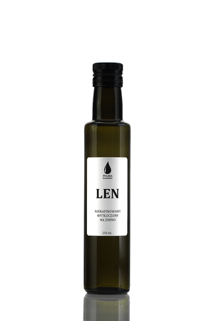 Świeży olej lniany, nierafinowany, tłoczony na zimno z polskiego lnu złotego.